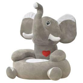 Scaun din pluș pentru copii cu model elefant, gri