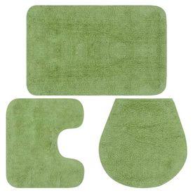 Set covorașe baie, 3 piese, verde, textil