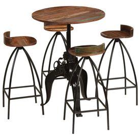 Set de bar, 5 piese, lemn masiv reciclat