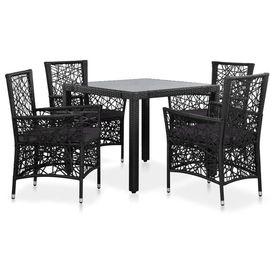Set mobilier de exterior, 5 piese, poliratan, negru
