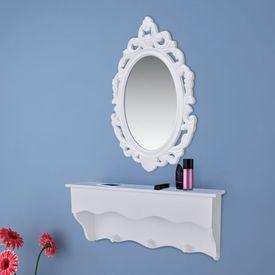 Set raft perete pentru chei și bijuterii, cu oglindă și cârlige