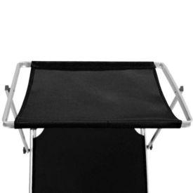Șezlong plajă pliabil cu acoperiș negru aluminiu & textilenă