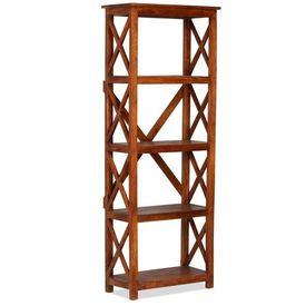 vidaXL Bibliotecă lemn masiv acacia, finisaj sheesham, 60x30x180 cm
