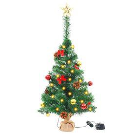 vidaXL Brad de Crăciun artificial cu globuri și LED-uri 64 cm Verde