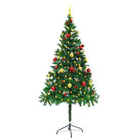 vidaXL Brad de Crăciun artificial, globuri și LED-uri 180 cm Verde