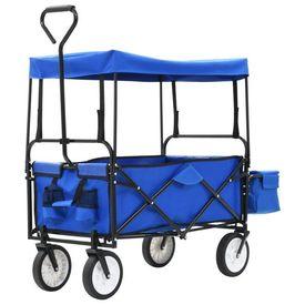 vidaXL Cărucior de grădină pliabil cu copertină, albastru, oțel