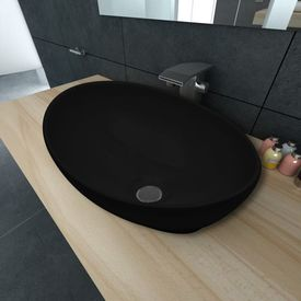vidaXL Chiuvetă ceramică, 40 x 33 cm, negru