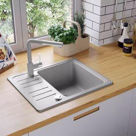vidaXL Chiuvetă din granit de bucătărie, cu un singur bazin, gri