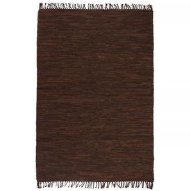 vidaXL Covor țesut manual Chindi din piele, 190 x 280 cm, maro