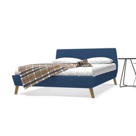 vidaXL Pat cu saltea, albastru, 140 x 200 cm, material textil