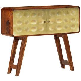 vidaXL Servantă lemn masiv de sheesham cu imprimeu auriu 90x30x77 cm