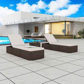 vidaXL Set șezlonguri exterior, 5 piese, poliratan, maro și alb