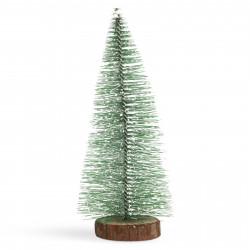 Mini decor pin artificial - 30 cm - înzăpezit, verde