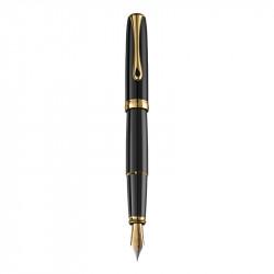 Stilou Excellence A2 Black Laquer Gold, penita M din otel inxoidabil, corp metalic lacuit, negru, accesorii placate cu aur