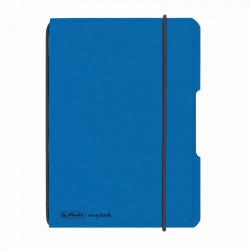 Caiet Herlitz, my.book flex, A6, 40 file, 70 g/mp patratele, coperta albastru deschis transparent, elastic negru