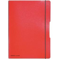 Caiet Herlitz MyBook Flex, logo negru, A4, 40 file, dictando, coperta PP, rosu