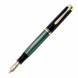 Stilou de lux Pelikan Souveran M1000 F, penita aur 18K, accesorii placate cu aur 18K, corp negru-verde