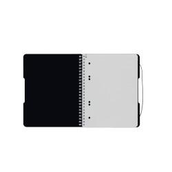 Caiet Herlitz, A5, 80 file, cu spirala, patratele, coperta pp cu elastic, 4 perforatii, negru opac