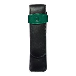 Etui de piele TG22 negru-verde, pentru 2 instrumente de scris