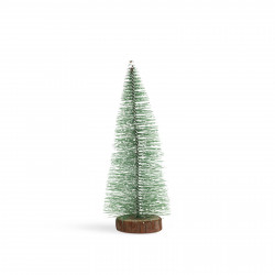Mini decor pin artificial - 15 cm - înzăpezit, verde