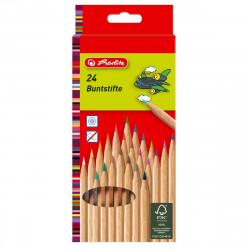 Set de creioane color natur Herlitz, 24 culori, hexagonale, certificat FSC wood