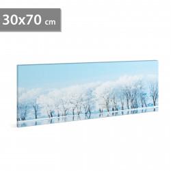 Stare de perete cu LED - peisaj de iarnă - 2 x AA, 70 x 30 cm