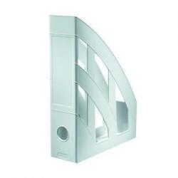 Suport vertical din plastic Herlitz Clasic, 76 mm, gri translucid