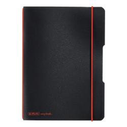 Caiet Herlitz, my.book flex, A5, 40 file, 70 g/mp patratele, coperta neagra, elastic rosu