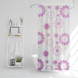 Perdea de duș - model cu flori mov - 180 x 180 cm