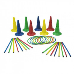Set motricitate Multisaltarello Mare, 8 conuri, 8 cercuri, 16 bete gimnastica