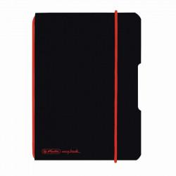 Caiet Herlitz, my.book flex, A6, 40 file, 70 g/mp patratele, coperta neagra, elastic rosu
