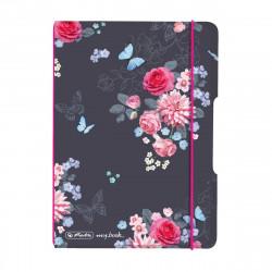 Caiet Herlitz MyBook Flex, flowers, A6, 40 file, cu elastic, matematica, coperta PP, roz