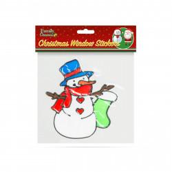 Decor fereastră de Crăciun - om de zăpadă - 18 x 18 cm