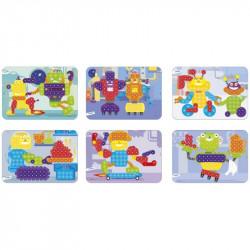 Joc educativ mozaic Miniland, 150 piese, 6 carduri activitati