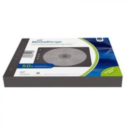 MediaRange CD fleece sleeves for 2 discs, binders,50 pk