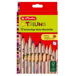 Set de creioane color Trilino Herlitz, 12 culori stralucitoare, din lemn de cedru, triunghiular Jumbo, varf de 5 mm