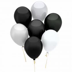 Set baloane, alb-negru, 15 buc./pachet