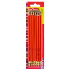 Set creioane HB Herlitz, lacuite, cu radiera, rosu, 24 buc/set