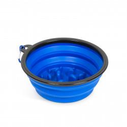 Yummie - Bol pliabil - pentru hrănire lentă - albastru - 1000 ml
