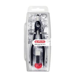Compas Herlitz MyPen, setare rapida, negru / gri