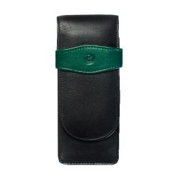 Etui de piele TG32 negru-verde, pentru 3 instrumente de scris