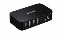 "HUB extern D-LINK, porturi USB: USB 2.0 x 7, conectare prin USB 2.0, alimentare retea 220 V, negru, ""DUB-H7"" (include timbru verde 0.75 lei)"