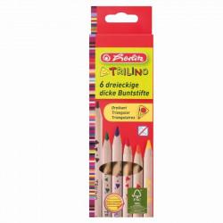 Set creioane color Herlitz Trilino, 1/1, 6 buc/set