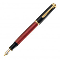 Stilou Pelikan Souveran M400 F, penita aur 14K, accesorii placate cu aur 24K, corp negru-rosu
