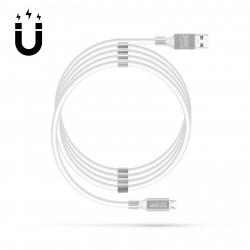 Cablu magnetic de date - MicroUSB - 2A - alb
