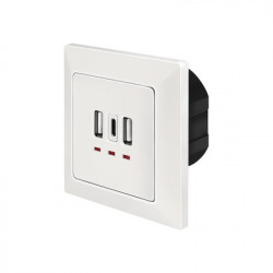 """PRIZA LOGILINK, de perete, 2 x USB-A 5V/2.4A, 1 x USB-C 5V/3A, ingropata, martori LED, alb, """"PA0254"""""""