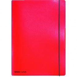 Caiet Herlitz MyBook Flex, logo negru, A4, 40 file, matematica, coperta PP, rosu transparent