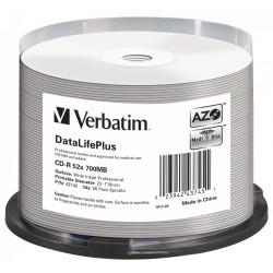 Verbatim CD-R AZO 700MB 52X DL+ WHITE WIDE PRINTABLE SURFACE NON-ID
