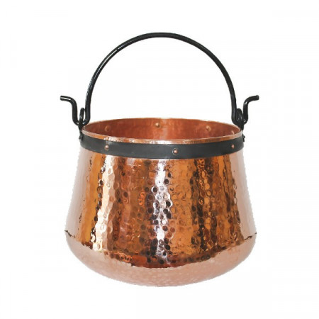 Ceaun Traditional, Cupru Masiv, Toarta Fier Forjat, 80 Litri