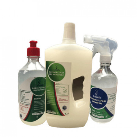 Pachet: Igienizant Spray Maini 500ml + Dezinfectant Multisuprafete 500ml + Dezinfectant Gel Pardoseli 1L